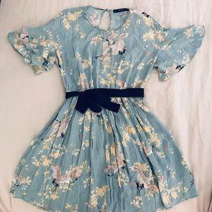 Zara light blue flutter sleeve dress